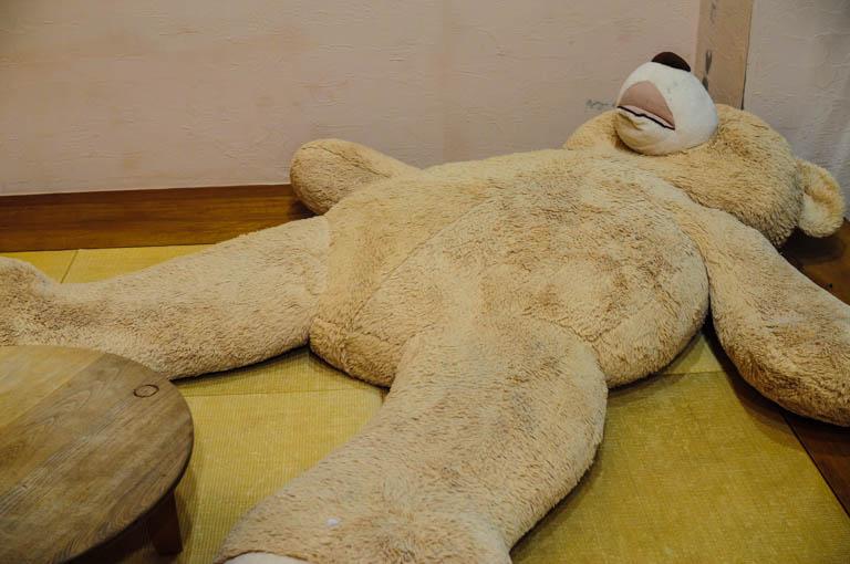 大浴場の近くにある畳の上にいるクマ